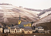 Zeltingen against wintry vineyards on the Mosel