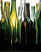 Stillleben mit neun verschiedenen leeren Weinflaschen