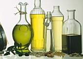 Assorted Oils in Glass Bottles