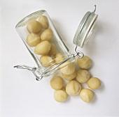 Ganze Macadamia-Nüsse im Glas