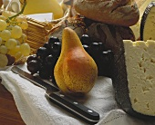 Still Life of Fruit Cheese and Bread