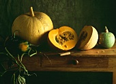 Still Life of Assorted Pumpkins and Squash on a Table