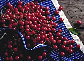 Many Cherries on a Table Cloth