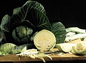 Whole Head of Cabbage and Sliced Cabbage