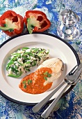 Haddock cutlet, steamed with pepper sauce and rice