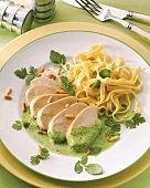 Turkey breast with watercress sauce & ribbon noodles