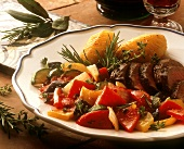 Mediterranean lamb fillet with ratatouille & baked potatoes