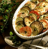 Aubergine, courgette and tomato gratin with fresh thyme