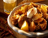Szeged goulash with blobs of sour cream