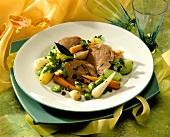 Boiled brisket & spring vegetables