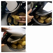 Cooking potatoes in steamer