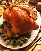 Whole roast turkey with brussels sprouts