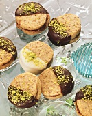 Round nut biscuits sandwiched with gianduja cream