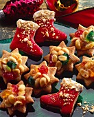 Biscuits with peanuts, fruit decoration and icing
