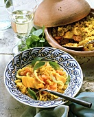 Israeli couscous: saffron millet with fish & seafood