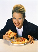 Woman with Cheese Pizza