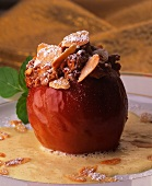 Baked apple with marzipan and almond filling & vanilla sauce