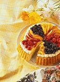 Summery fruit flan with mixed fruit