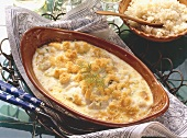 Gratin of cod fillets in baking dish
