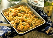 Rice bake with celery and turkey in casserole dish