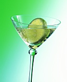 Gimlet with slice of lime