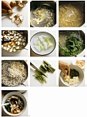Making noodle soup with shrimps, shiitake and spinach