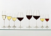 Glasses for sparkling, white, red and dessert wines