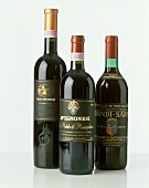Two bottles of Brunello and a Nobile from Tuscany, Italy