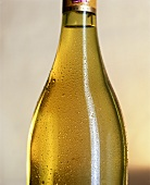 Close-up of a bottle of white wine against light background