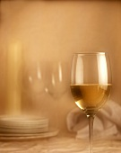 A glass of white wine beside, plates, napkin & candle