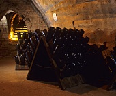 Champagne bottles in traditional pupitre, France