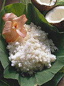 Steamed White Rice in a Banana Leaf