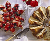 Berry boats on cake plate and Alsatian gugelhupf