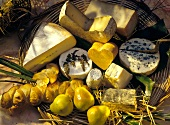 A Platter of Cheese with Bread and Pears