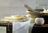 Peeled White Asparagus on a Wooden Table