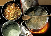 Three Pots on a Stove; Farfalle Pasta; Linguine with Shrimp; Herb Cream Sauce