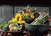 Vegetable Still Life; Asparagus and Mushrooms