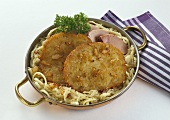 Potato pancakes with Sauerkraut in Copper Pan