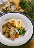 Slices of duck breast with mushroom chard stuffing & gnocchi