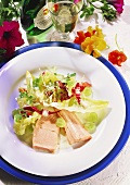 Salmon in buttermilk sauce with mixed salad