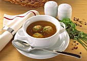 Liver Dumpling Soup with Herbs in Soup Mug