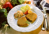 Carrot and Pea Pancake with Vegetables and Rice