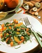 Watercress salad with ramsons, orange segments & bacon