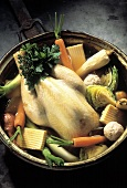 Uncooked Chicken Stew with Vegetables; Whole Chicken