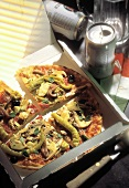 Pizza in a Box with Pepperoni and Vegetables
