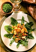 Fried potatoes with bacon on warm dandelion leaf salad