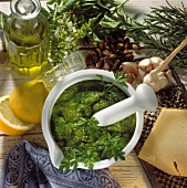 Pesto with Mortar and Pestle; Ingredients