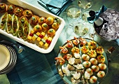 Small Party Buffet with assorted Hors d'oeuvres and Champagne