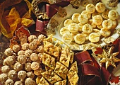 Assorted Christmas Cookies with Christmas Decorations