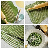 Making two-coloured noodles (green & white ribbon noodles)